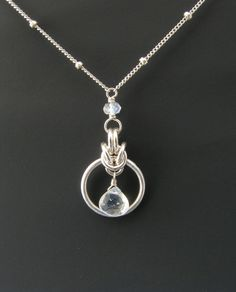 Byzantine Drop Chainmail Pendant / Necklace with Rainbow Moonstone (Love this composition!!!!!!)