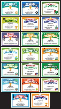 Backyard games certificates templates ladder golf horse shoes and champion award certificate grid yelopaper Gallery