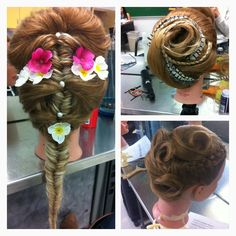 I took Cosmetology for my entire high school career, and in my final year we had a hair competition with the theme of summer fantasy. I did end up winning first place, in which I was granted a breast cancer edition Chi Straightener! I wanted to show my hairstyles with all of you
