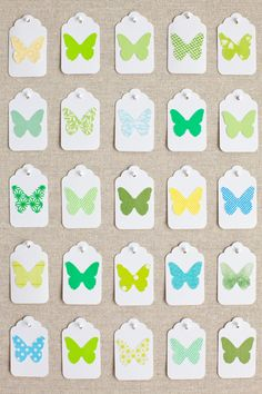 DIY gift tags made from scrapbook paper and butterfly punch Arts And Crafts, Paper Crafts, Craft Punches, Paint Chips, Garden Inspiration, Colour Inspiration, Making Ideas, Gift Tags, Gift Wrapping