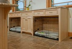 Cabinets built around dog crates. If we ever get a dog. Fill cabinets with pet supplies. Food and water on side
