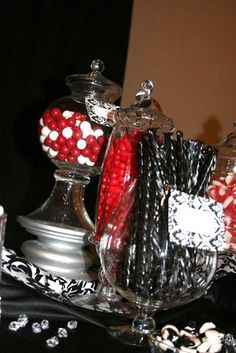 Black, red and white damask candy buffet.