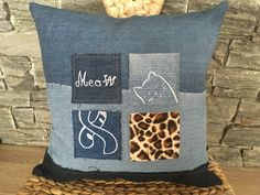 Denim Pillow With Cat Patches , Decorative Toss Pillow , Denim Decorative Throw Pillow , Embroidered Pillow , Denim Sham Pillow , Cat Lovers by SecondBirthday on Etsy
