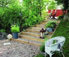 Garden Stairs, Garden Bridge, Swedish Cottage, Wooden Patios, Sloped Garden, Flower Wall, Beautiful Gardens, Life Hacks, Backyard