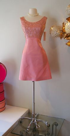 Vintage 1960's Dress // 60's Sequined Pink Emma by xtabayvintage, $85.00