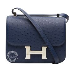 Bleu Indigo Constance in Ostrich with Palladium Hardware Hermes Constance, Hermes Handbags, Hermes Birkin, Louis Vuitton Monogram, Indigo, Wallet, Pattern, Hardware, Accessories