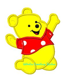 Winnie the Pooh on Knees Machine Embroidery Applique Design INSTANT DOWNLOAD