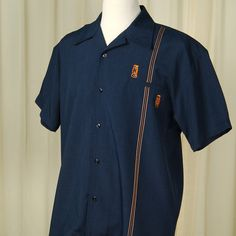 Steady Clothing Tiki Retro Stitch Bowling Shirt for sale at Cats Like Us #mens #retro #tiki #tropical #lounge #bowling #rockabilly