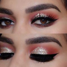 silver glitter + red crease w/ black winged liner @romyglambeauty | eyeliner eye makeup. @hudabeauty @shophudabeauty Desert dusk palette ✨✨ @shopvioletvoss Treasure glitter ✨✨ @flutterlashesinc frosting…