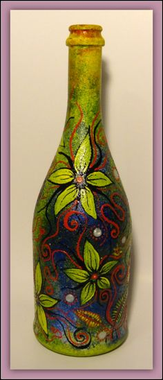 Hand painted bottle by SchrodingerArt on Etsy, $35.00