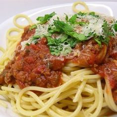 Spaghetti Sauce with Ground Beef - A meaty red sauce that's easily put together on a busy weeknight.