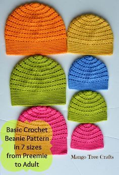 With spring just around the corner I would like to share this pattern of a basic crochet beanie with you. I designed it in seven sizes from preemie to adult. Yarn used: Caron Simply Soft Acrylic ...
