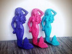 BOLD trio MERMAID towel hooks //seaside aqua hot pink grape purple // wall hook // nautical beach bathroom bedroom decor // shabby CHIC