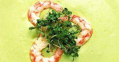En kall förrättssoppa är en fin upptakt på festmåltiden.     Avokadons milda smak och färg ger perfekt bakgrund till     räkorna.