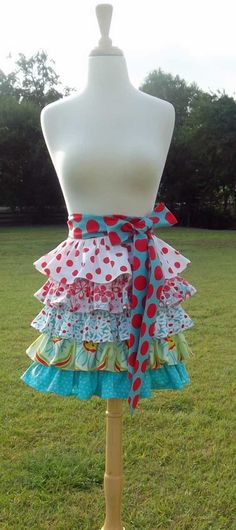 Womens+Aqua+and+Red+Ruffled+5+Tier+Half+Apron+by+CanterburyKitchen,+$29.50