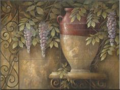 Affresco di Fiore II by Elaine Vollherbst-Lane - Kitchen Backsplash / Bathroom wall Tile Mural by Tile Mural Store-Kitchen. $180.00. This beautiful artwork by Elaine Vollherbst-Lane has been digitally reproduced for tiles and depicts a pot with colorful flowers. With our enormous selection of tile murals of plants and flowers you can bring your kitchen backsplash tile project to life. A decorative tile mural with plants and flowers is an impressive kitchen backsplash i...