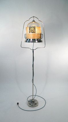 Birdcage Floorlamp With Wooden Shade