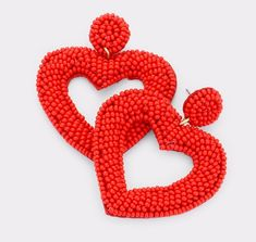 Shop Women's Red size OS Earrings at a discounted price at Poshmark. Beaded Earrings, Statement Earrings, Drop Earrings, Heart Shaped Earrings, Hair Beads, Gold Work, Bijoux Diy, Beautiful Necklaces, Heart Shapes