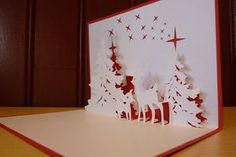 carte de voeux sapin et cerfs - Fabric Crafts 3d Cards, Easel Cards, Pop Up Cards, Holiday Cards, Christmas Cards, Kirigami Patterns, Card Patterns, Origami And Kirigami, Origami Paper
