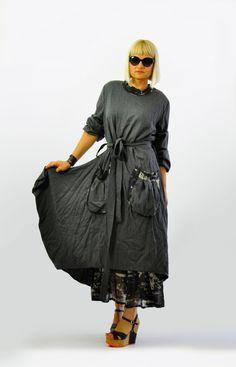 Maxi wool dress/Long extravagant dress/Loose wool dress/long sleeves dress/dress with pockets/Handmade dress/Winter day dress/