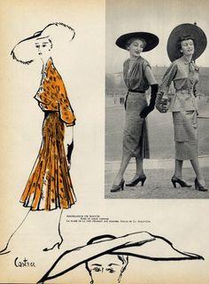 Madeleine de Rauch 1950 Castner, Fashion Illustration by Castner | Hprints.com