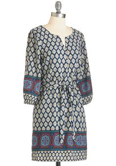 Friends in Fun Places Dress. dress dresses frock frocks design designs style styles cut cuts Guide your pals through the best day ever while wearing the ornate off-white pattern of this navy-blue dress. #blue #modcloth
