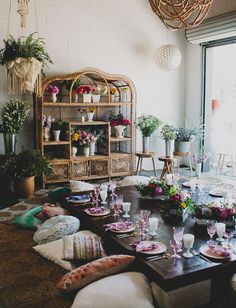 Summer Solstice party with pillow seating + boho details