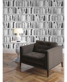 Fashion Library Bookcase Wallpaper Silver Muriva 139502