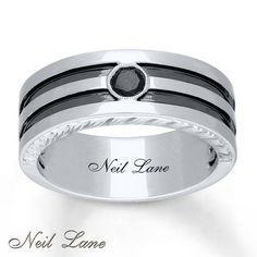 Neil Lane Mens Ring 1 5 Carat Black Diamond 14k White Gold Lanemen Wedding Bandswedding