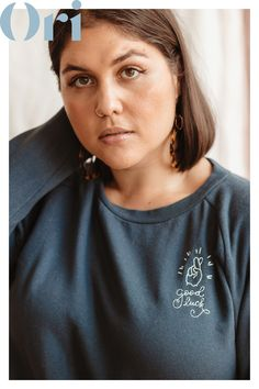 This pullover plus-size French Terry sweatshirt features sweet embroidery to brighten your day. It's the perfect casual addition to your everyday wardrobe. Plus Size Tees, Spring Fashion Outfits, Embroidered Sweatshirts, Sweatshirt Outfit, College Fashion, Perfect Woman, French Terry, Plus Size Fashion, Shirt Designs