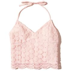 Hollister Lace Halter Crop Top ($25) ❤ liked on Polyvore featuring tops, crop top, light pink lace, pink top, v neck crop top, halter top, cropped tops and v-neck top