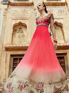 #Pink & #Gray #Colour #Net #Embroidered #Anarkali #Suit