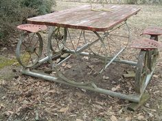 tractor seat garden table! Dad should build this out of stuff at the farm