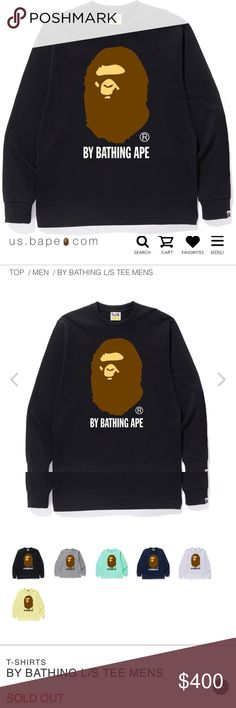 33a4d54854e8 By Bathing Ape Long Sleeve SOLD OUT ONLINE! SPRING/SUMMER 18 DROP! Brand  New! Unopened and in original package! Bape Shirts Tees - Long Sleeve