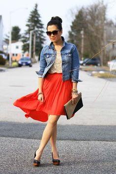 carrot orange H&M skirt - jacket - camel DIY purse