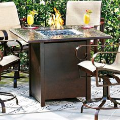Woodard Napa 42 in. Square Gathering Height Fire Pit Table - WD2935-31