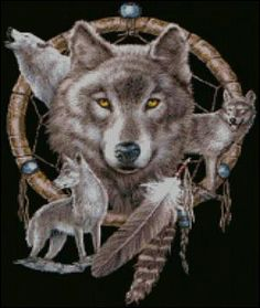 Dreamcatcher and Wolves Cross Stitch Pattern***L@@K*** by LONE WOLF CROSS-STITCH PATTERNS LOOK, $4.95 USD
