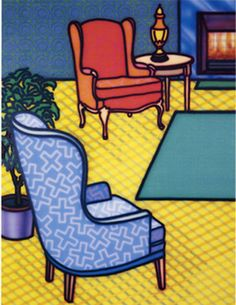 Interior Tableau by Howard Arkley, 1992 Magnum Opus, Mondrian, Howard Arkley, Musica Punk, Art Folder, Interior Sketch, Inspiring Things, Typography Art, Australian Artists