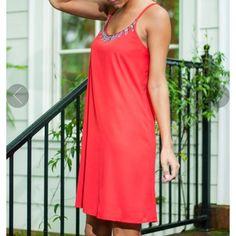 Mint Julep Red Leaf Beaded Top Dress
