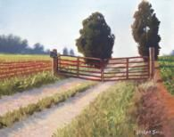 Landscape painting of gate and trees en plein air.