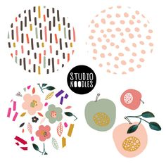 floral pattern collection with apples and dashes and dots