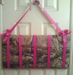 Camo Hair Bow holder. Can easily add hooks at the bottom for headbands.
