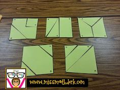 MissMathDork: middle school math made FUN!: Cooperative Squares: Groups of 5 (student A - student E). Each student has 3 puzzle pieces in an envelope. Students can't talk. Students can only touch the pieces with their letter on them. Put together 5 squares.