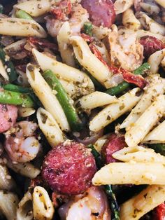 Shrimp and Sausage Pesto Pasta - Cooks Well With Others Sausage And Shrimp Recipes, Easy Pasta Recipes, My Favorite Food, Favorite Recipes, One Pot Dishes, One Pan Meals, Pesto Pasta, How To Cook Pasta, Meal Planning