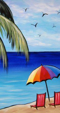ideas painting canvas ideas ocean beach scenes for 2019 Summer Painting, Easy Canvas Painting, Simple Acrylic Paintings, Easy Paintings, Canvas Art, Painting Canvas, Canvas Ideas, Acrylic Painting For Kids, Beach Scene Painting