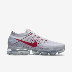 Nike Air VaporMax 2018 Flyknit White Gray Red Tick (36-45) Nike Vapormax Flyknit, Curvy Petite Fashion, Running Shoes Nike
