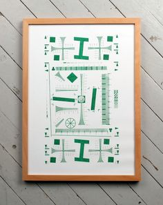 This is a print based on a testprint sheet. It is printed on a Duplo DP43si, similar to a Riso machine.    Green ink on 150 g/m² Munken Print Cream paper. A3