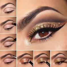 Make sure not to wear your dress/outfit while you apply golden eyeshadow because usually it spreads everywhere so it is best to finish makeup then get dressed. Also, have a wipe on the side just in cause the sparkles spread on your face. You will need a brown pencil, golden eyeshadow, golden sparkles and black eyeliner.  Start by applying foundation and then with a brow pencil outline the area where you will apply the golden eyeshadow such as indicated in the first picture. With a small…