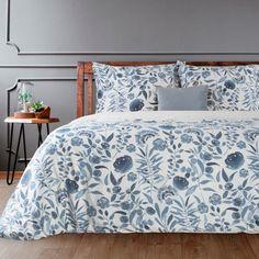 Komplet Pościeli POS/ST/MABELL o szerokości 220 cm i długości 200 cm, kolor BIAŁY/GRANATOWY. Comforters, Nova, Satin, Blanket, Things To Sell, Blue, Furniture, Home Decor, Design