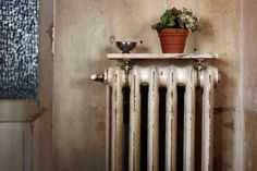 marble saddle as shelf over radiator